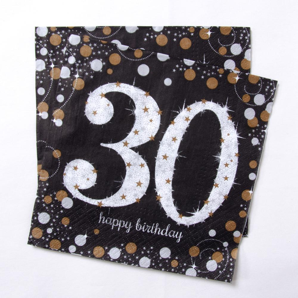 30th Birthday Gold Celebration Paper Party Napkins (x16)