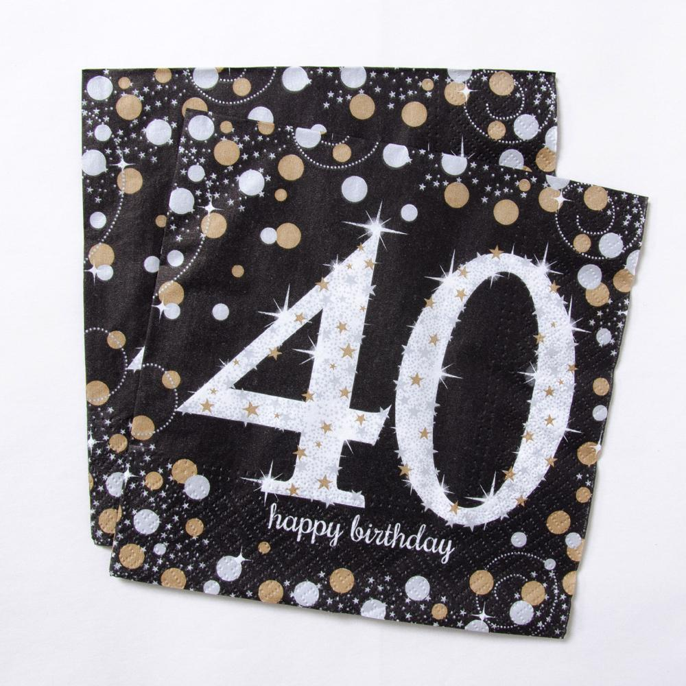 40th Birthday Gold Celebration Paper Party Napkins (x16)