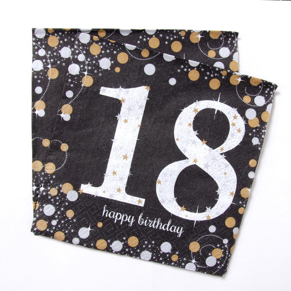 18th Birthday Gold Celebration Paper Party Napkins (x16)