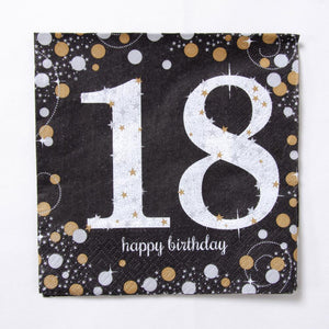 A black 18th birthday party napkin with gold and silver polka dots
