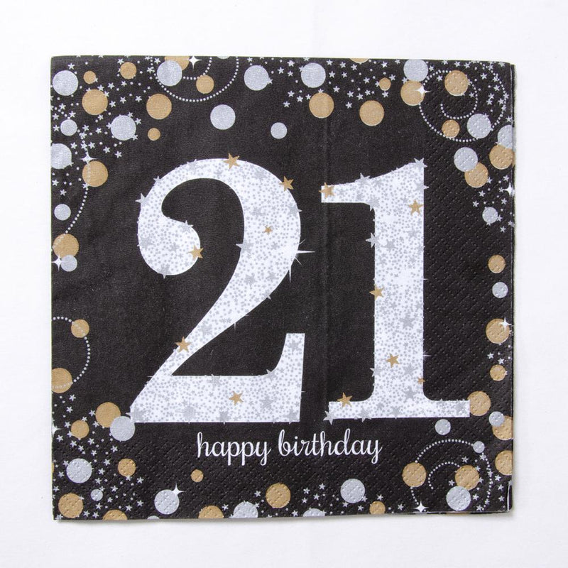 21st Birthday Gold Celebration Paper Party Napkins (x16)
