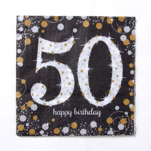 50th Birthday Gold Celebration Paper Party Napkins (x16)