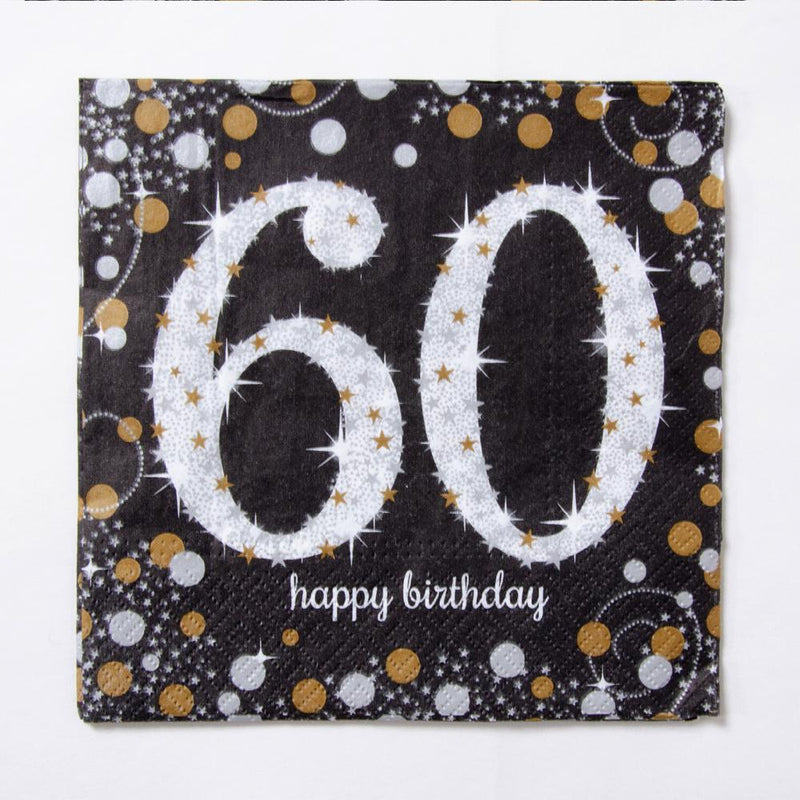 60th Birthday Gold Celebration Paper Party Napkins (x16)