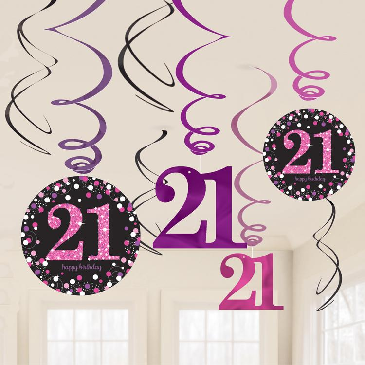 21st Birthday Pink Celebration Ceiling Decorations (x12)