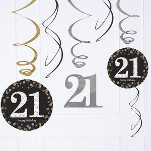 3 hanging spiral decorations with roundels and a 21st birthday design