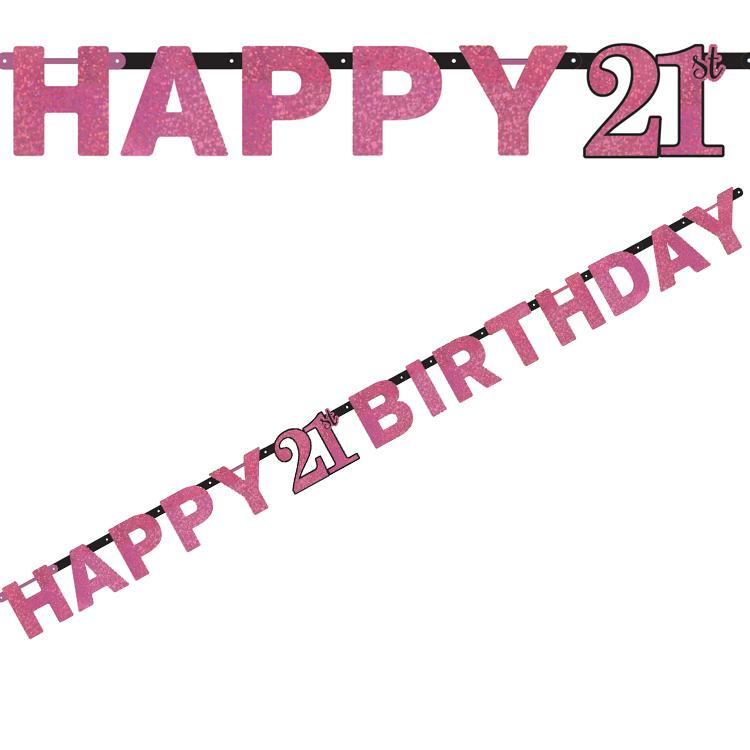 21st Birthday Pink Celebration Letter Banner