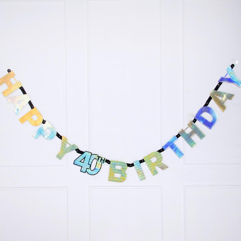 40th Birthday Gold Celebration Letter Banner