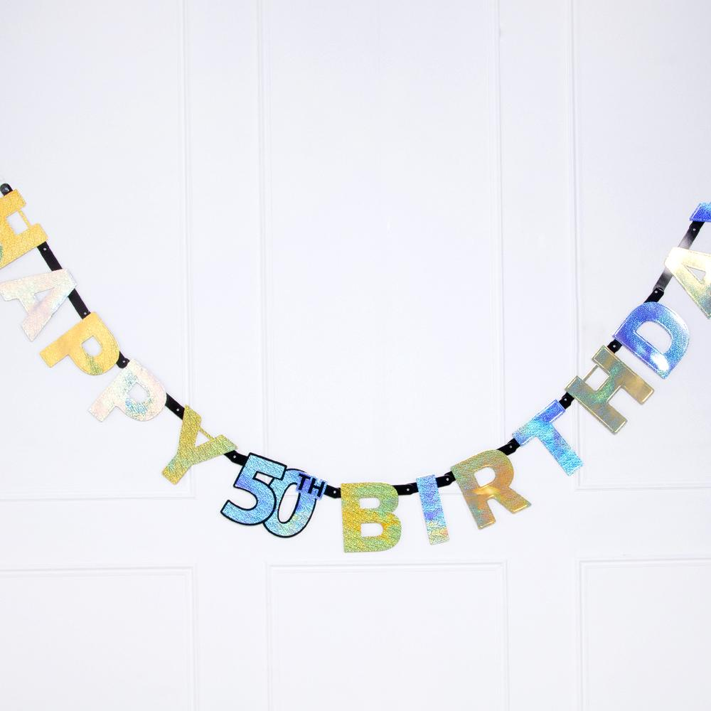 50th Birthday Gold Celebration Letter Banner