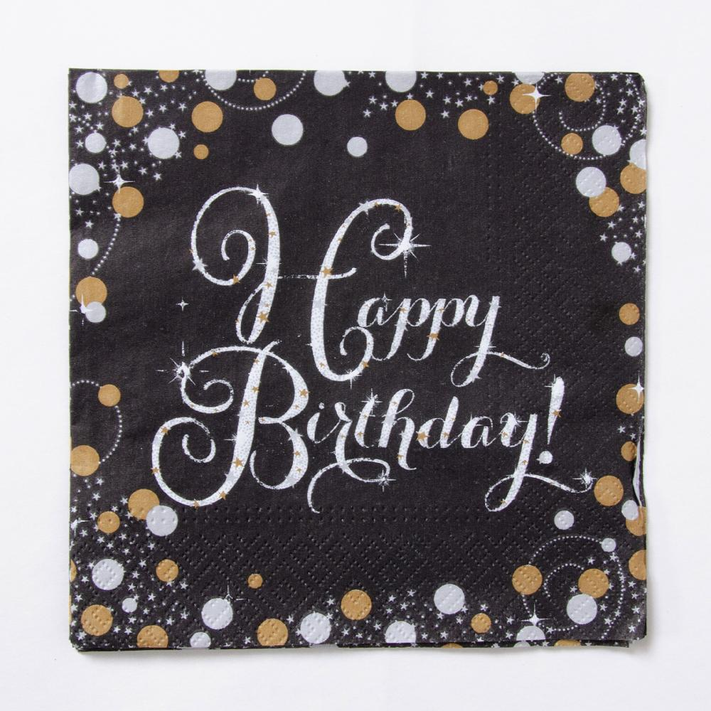 Gold Celebration Paper Party Napkins (x16)