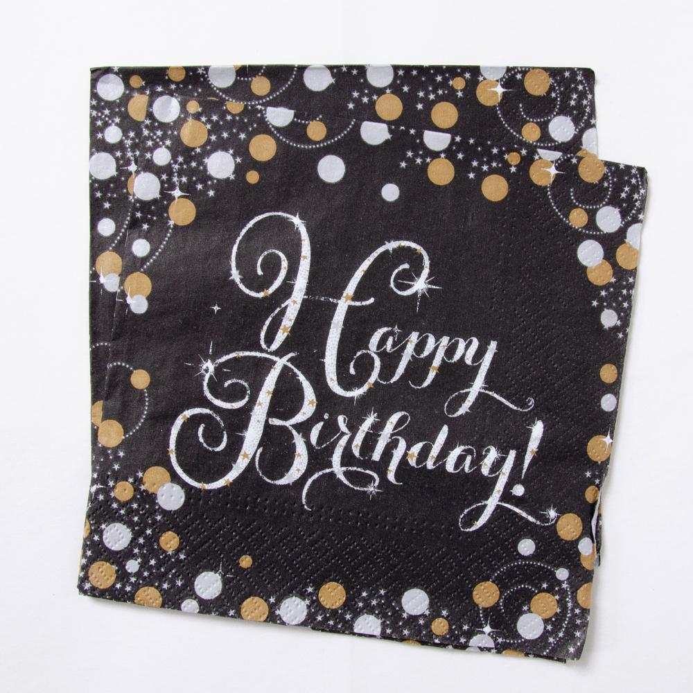 A set of milestone party napkins with a Happy Birthday greeting and a silver and gold design