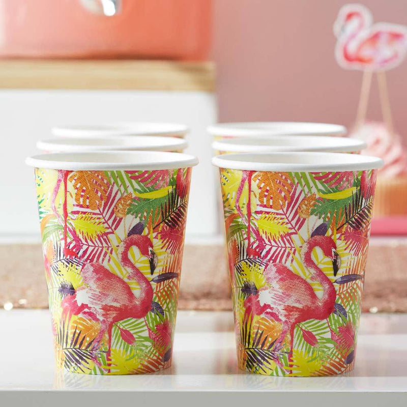 Flamingo Fun Paper Party Cups (x8)