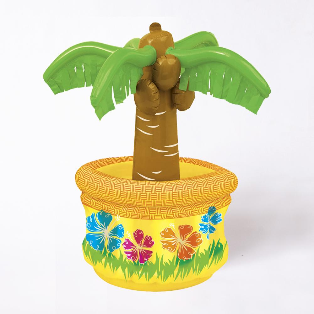 An inflatable drinks cooler with a 2-foot-tall inflatable palm tree in the centre