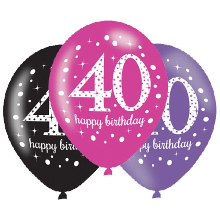 Pink Celebration Age 40 Latex Party Balloons (x6)