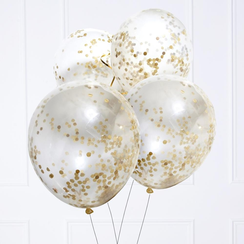 Gold Confetti Latex Party Balloons (x6)
