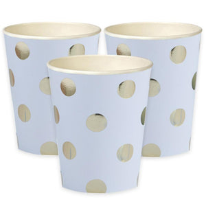 A set of 3 white party cups with a gold foil polkadot pattern