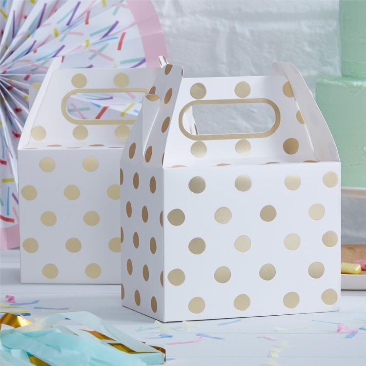 Pick and Mix Gold Metallic Polka Party Boxes (x5)