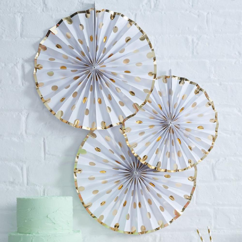 A set of 3 white and gold foil polkadot party fans