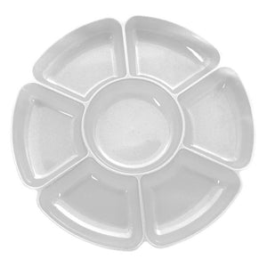 A clear plastic party nibbles tray with 7 compartments