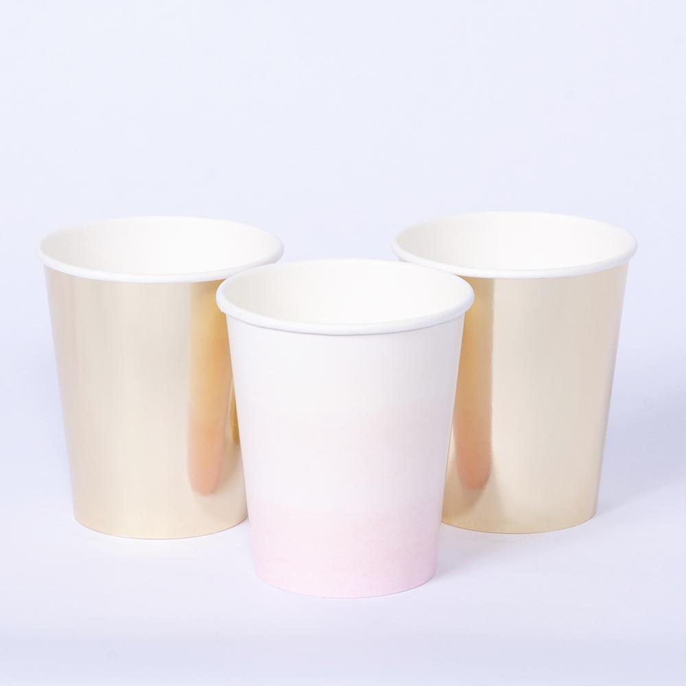 A set of 3 pastel coloured party cups