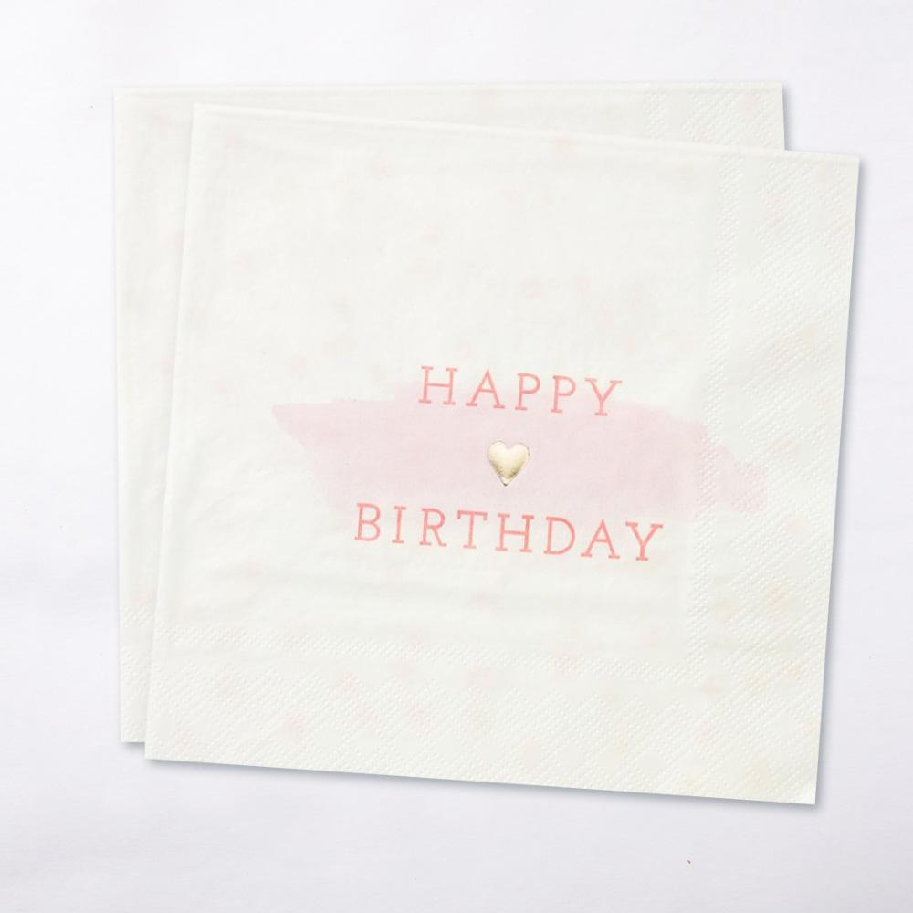 We Heart Pink Happy Birthday Party Napkins (x16)