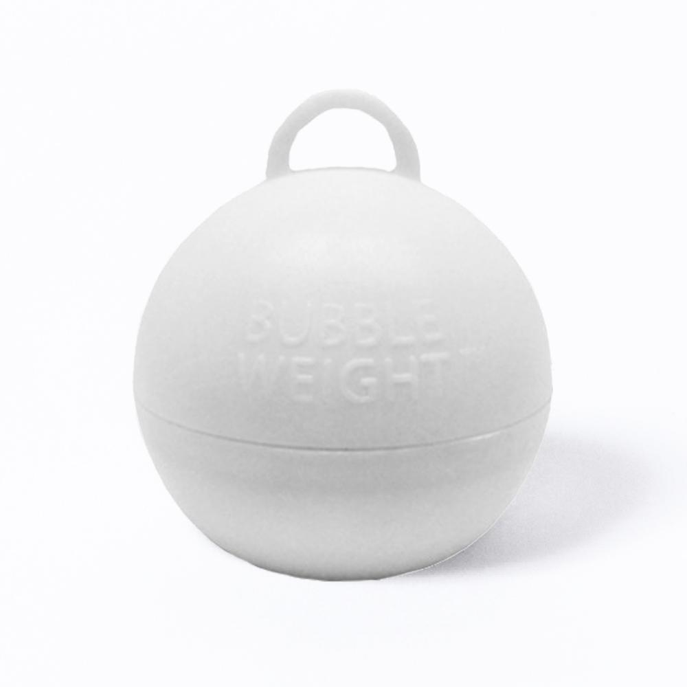A round, white balloon weight