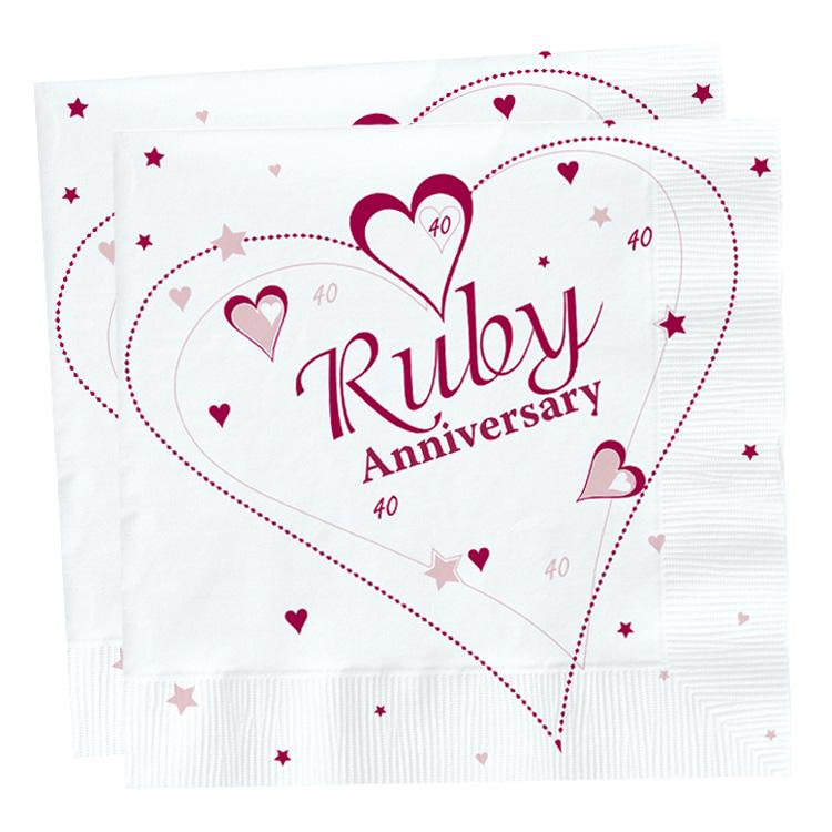 Ruby Anniversary Paper Party Napkins (x18)
