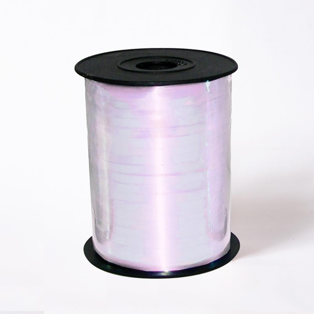 A reel of iridescent white party ribbon