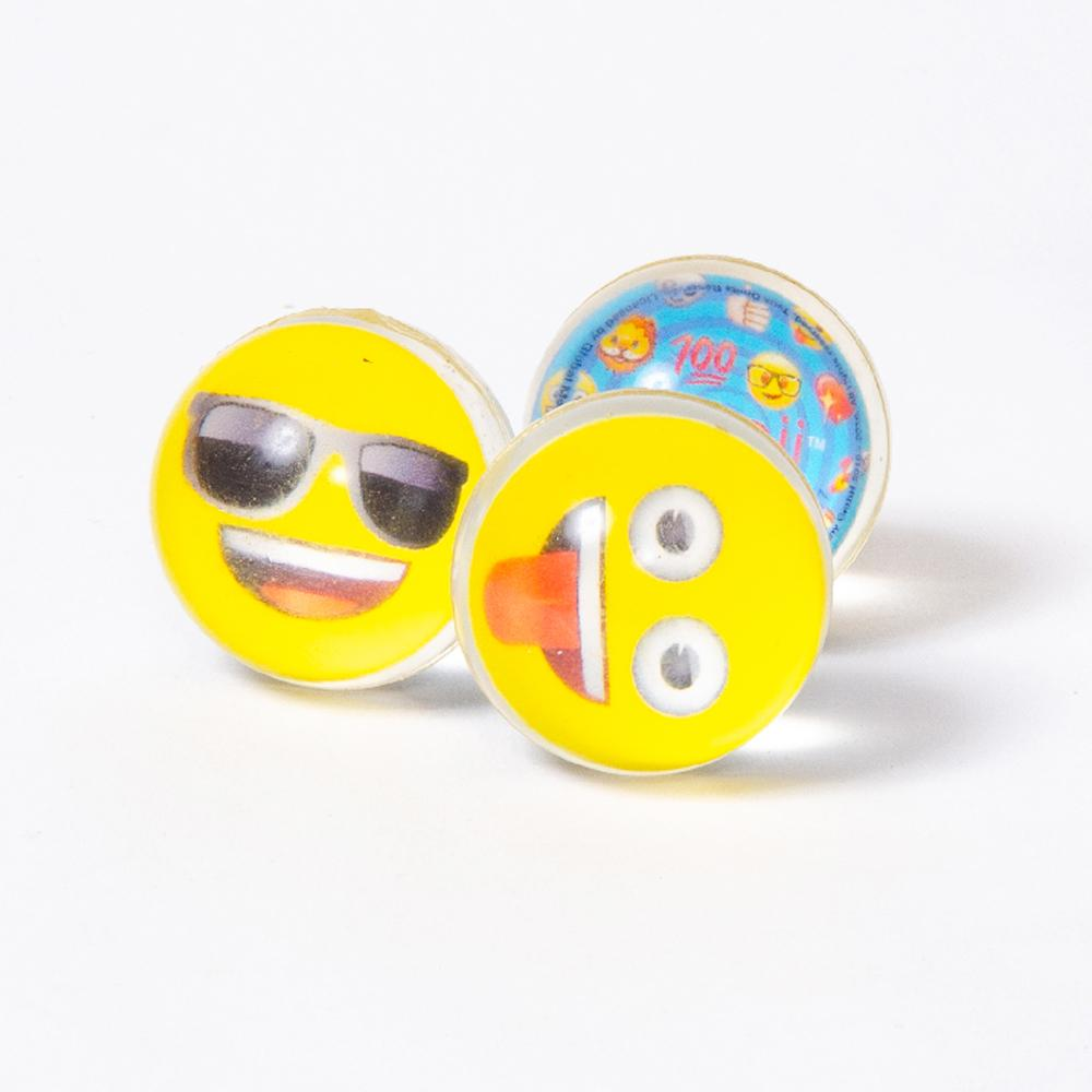 3 bouncy balls with emoji faces and designs
