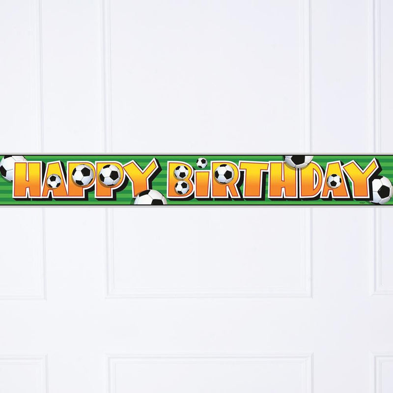 A football-themed party banner with a