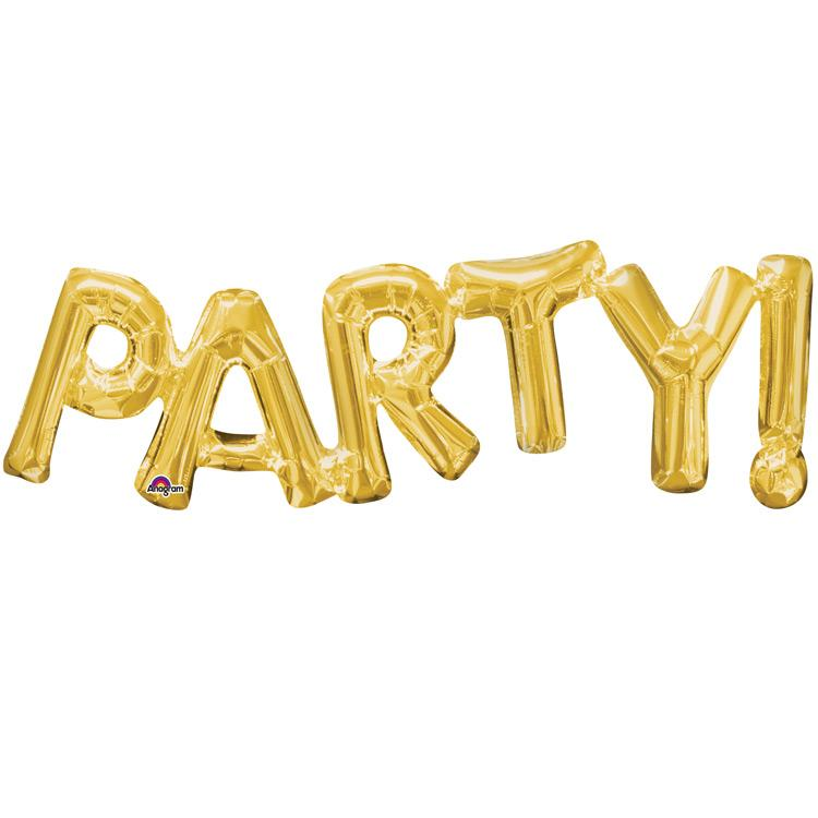 PARTY! Gold Foil Phrase Balloon