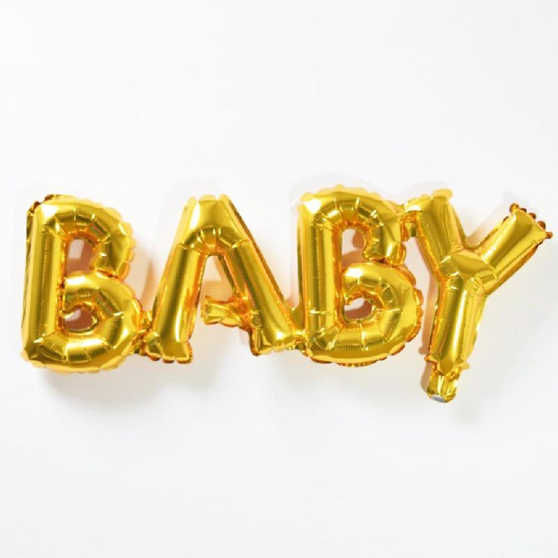 "A gold foil baby shower balloon phrase saying ""Baby"""