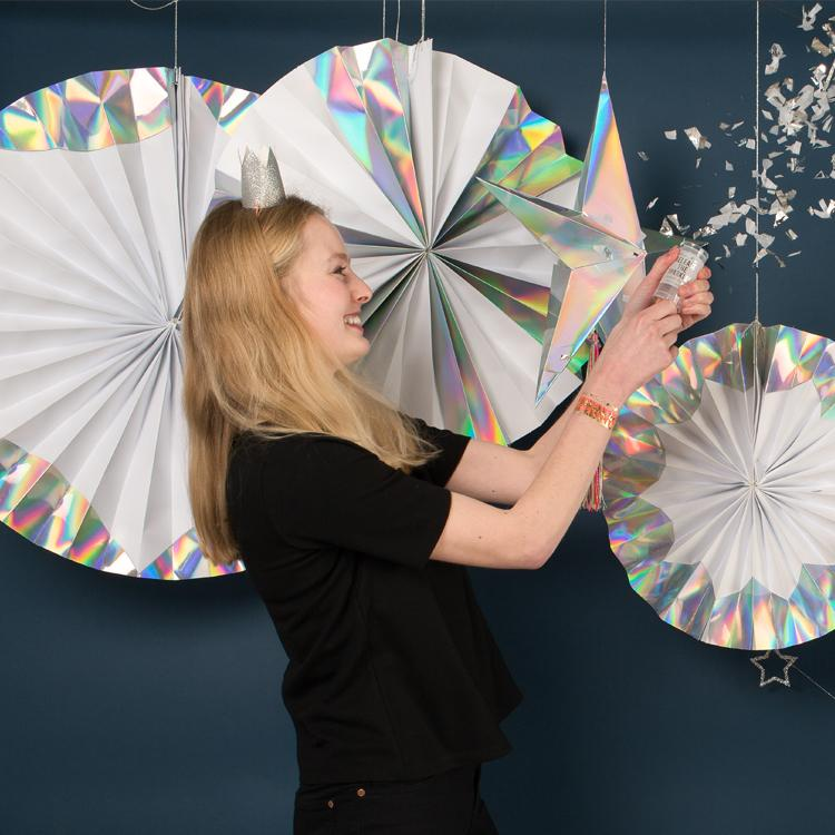 Giant Holographic Silver Pinwheels (x4)