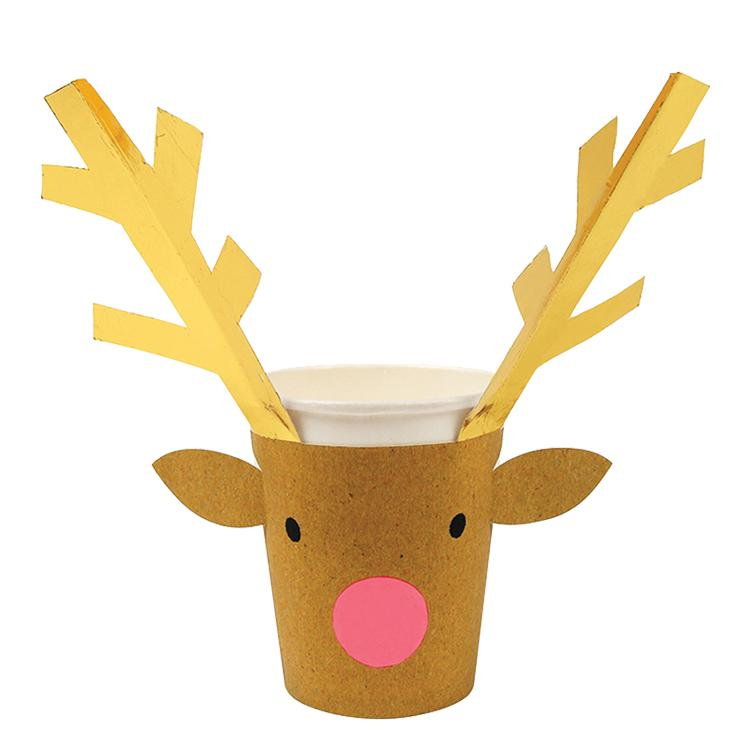 Reindeer Party Cups (x8)