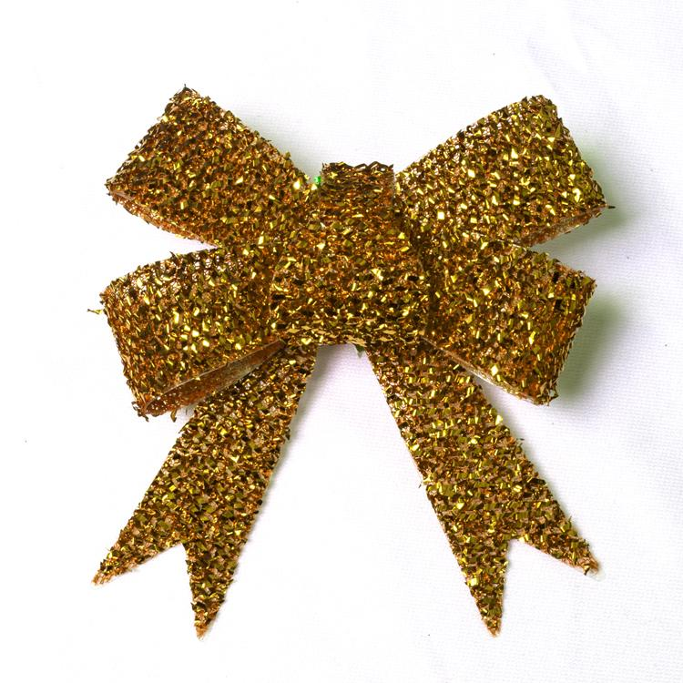 Christmas Glittered Bows Gold (x3)