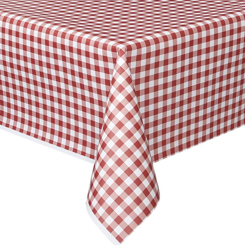 A plastic party table cover with a red gingham design