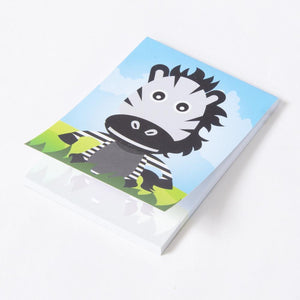 A small jungle animal memo book with a cute zebra cartoon cover