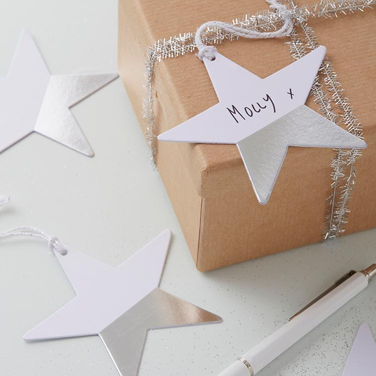 Dipped Foiled Star Gift Tags - Silver (x6)