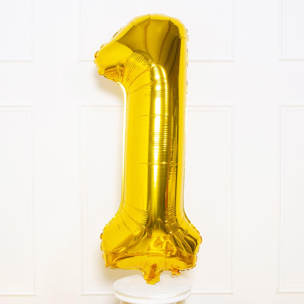 "Supershape Gold 34"" Helium Balloon Number 1"