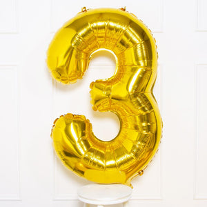 "Supershape Gold 34"" Helium Balloon Number 3"