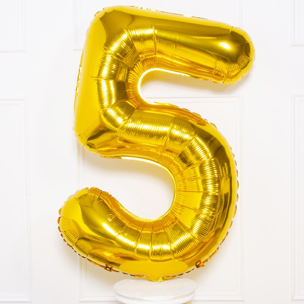 Supershape Gold Helium Balloon Number 5