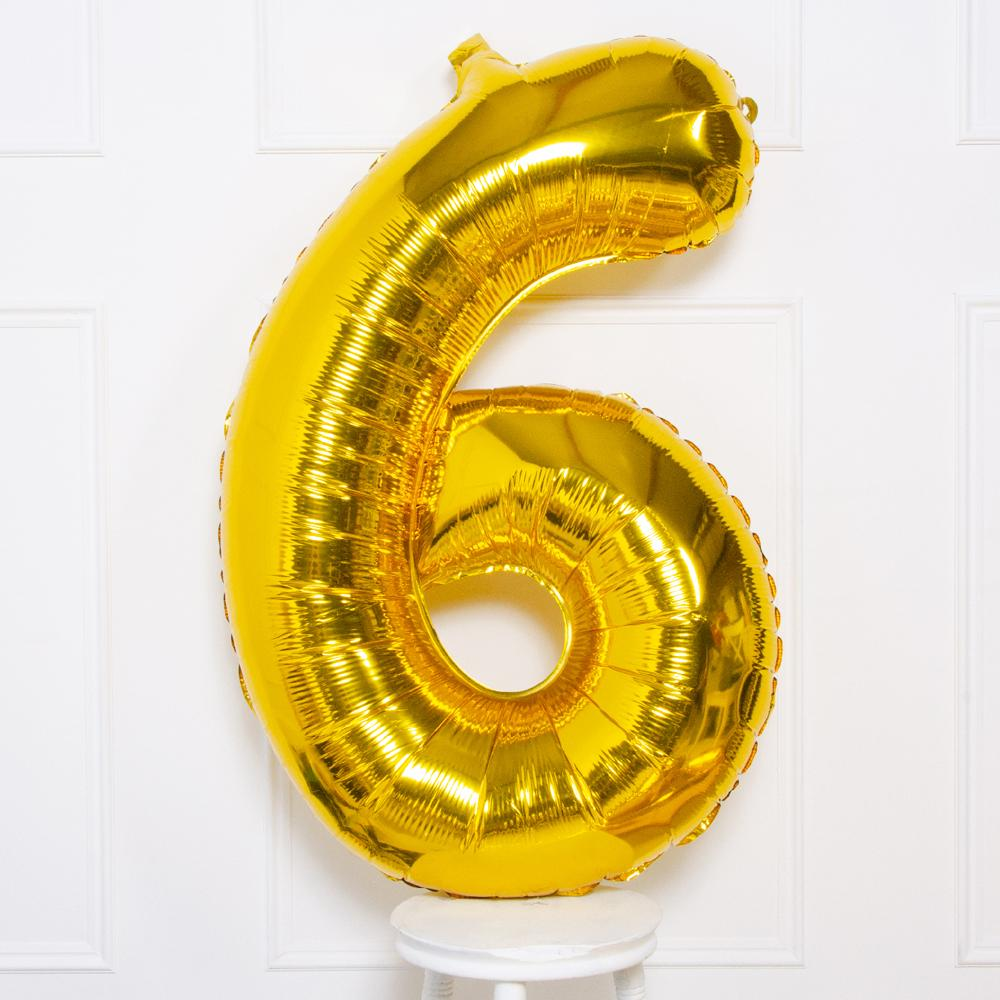 "Supershape Gold 34"" Helium Balloon Number 6"
