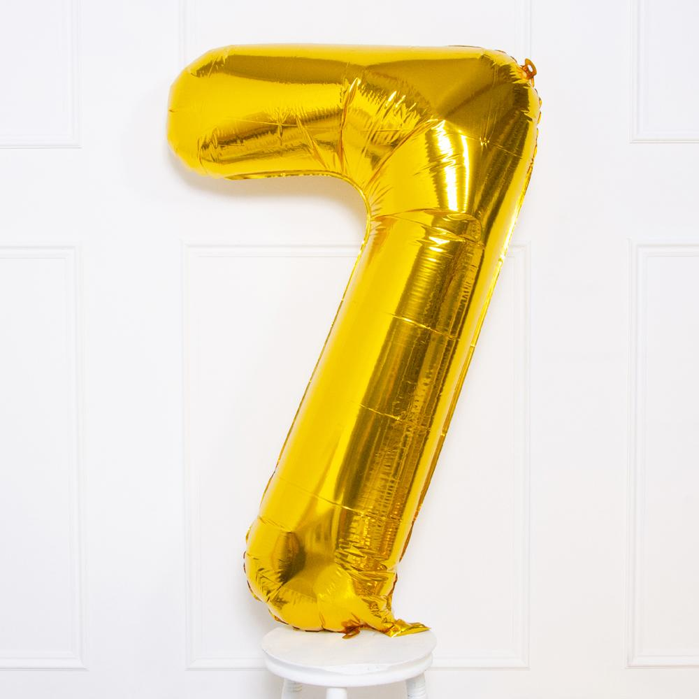 Supershape Gold Helium Balloon Number 7