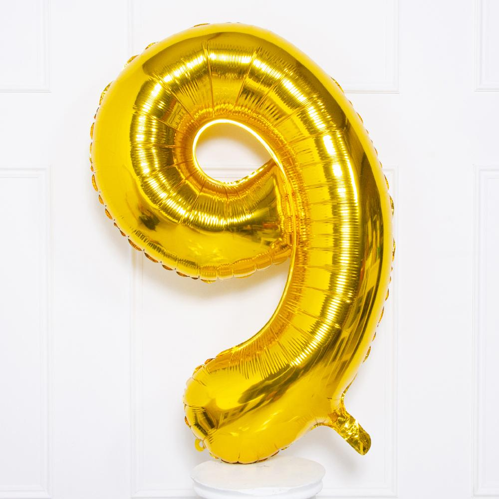 Supershape Gold Helium Balloon Number 9