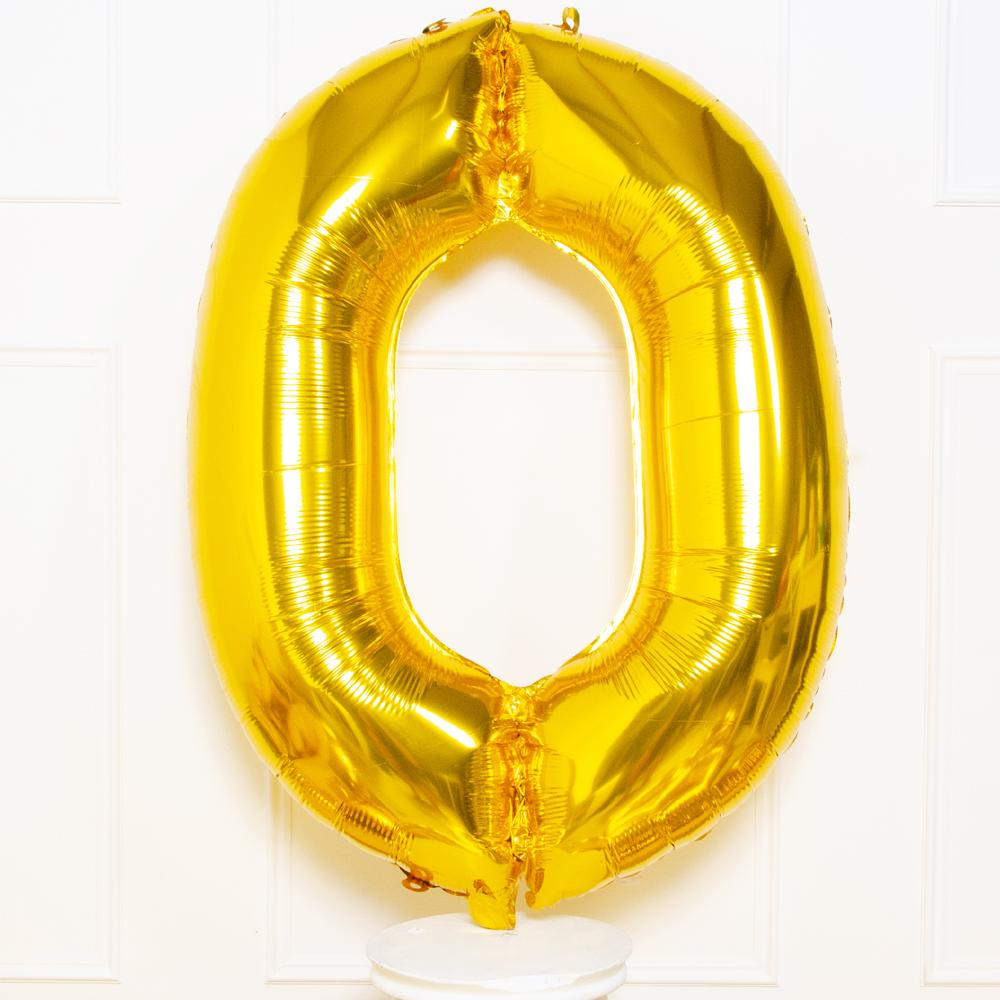 Supershape Gold Helium Balloon Number 0