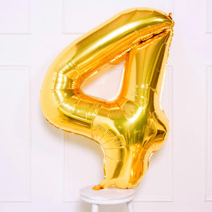 "Supershape Gold 34"" Helium Balloon Number 4"