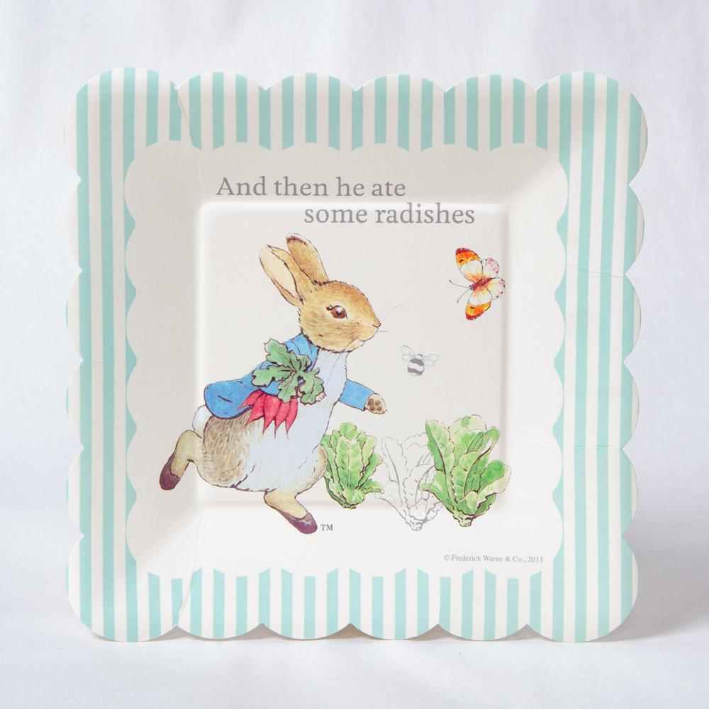 A Peter Rabbit party plate with a classic, vintage theme and scallop-edge design