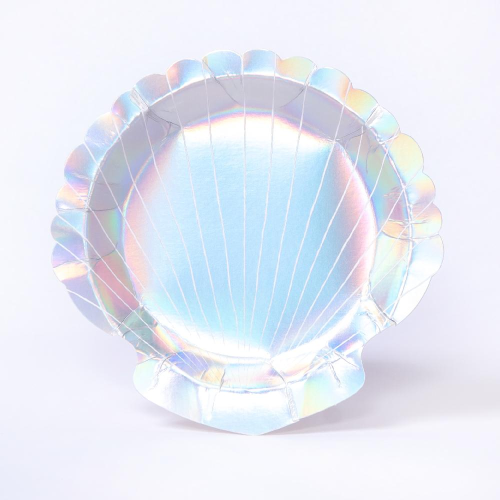 An iridescent foil coated clamshell party plate for mermaid-themed parties