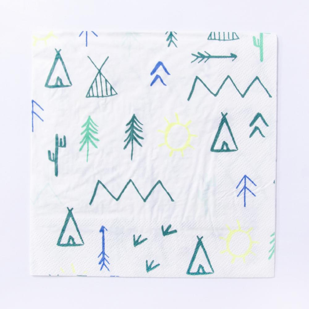 A party napkin featuring outdoor woodland-styled doodles