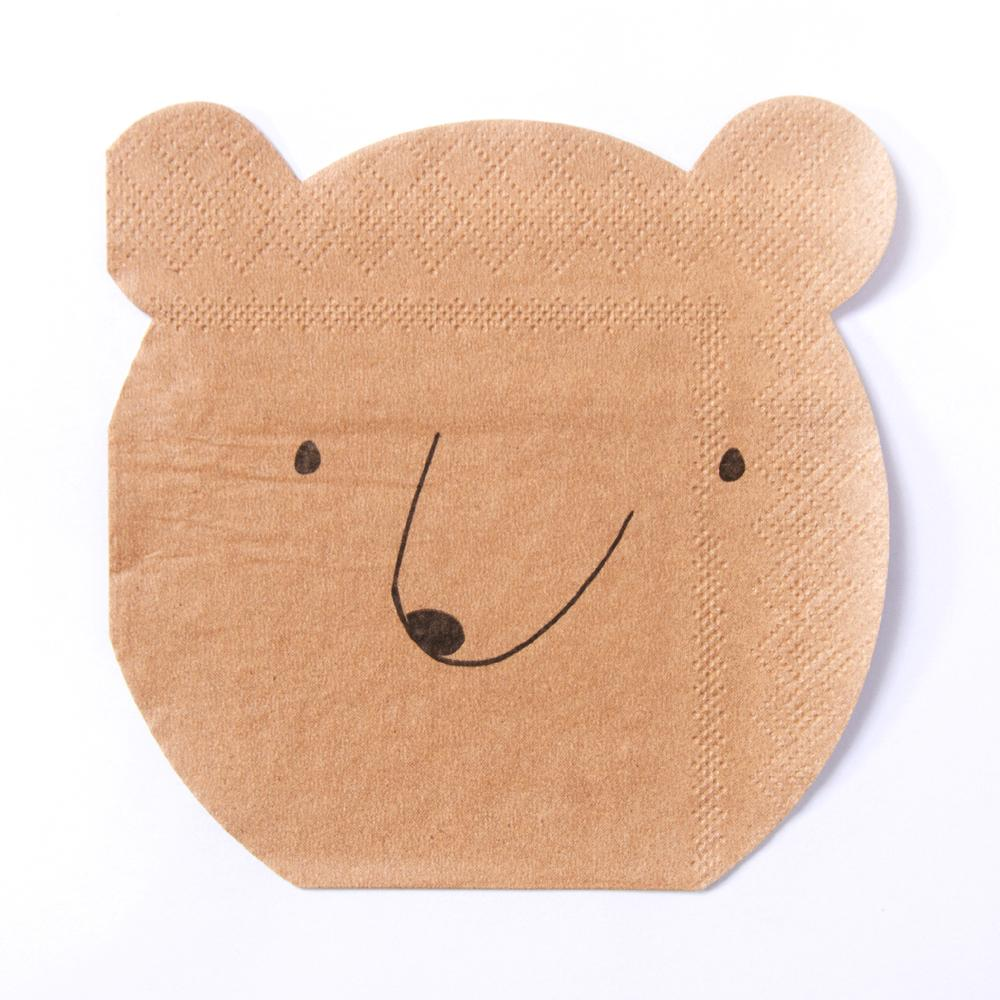 A bear-shaped party napkin for an outdoors woodland-themed party