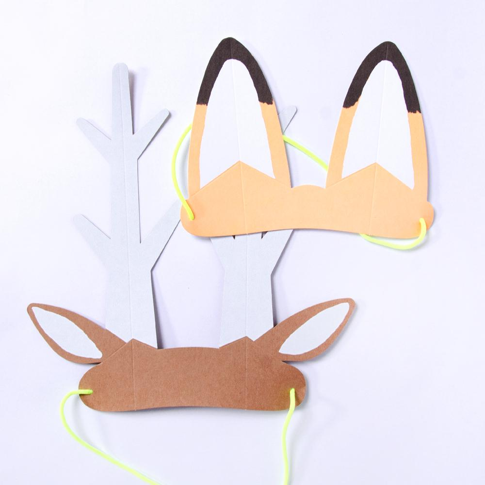 2 animal ear headbands for a woodland party